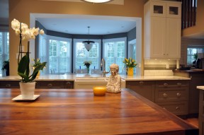 View of the kitchen and dining area. Photo by Andrea Tomkins