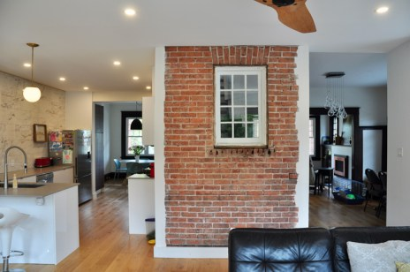 The family preserved some brickwork during their renovation. Photo by Andrea Tomkins