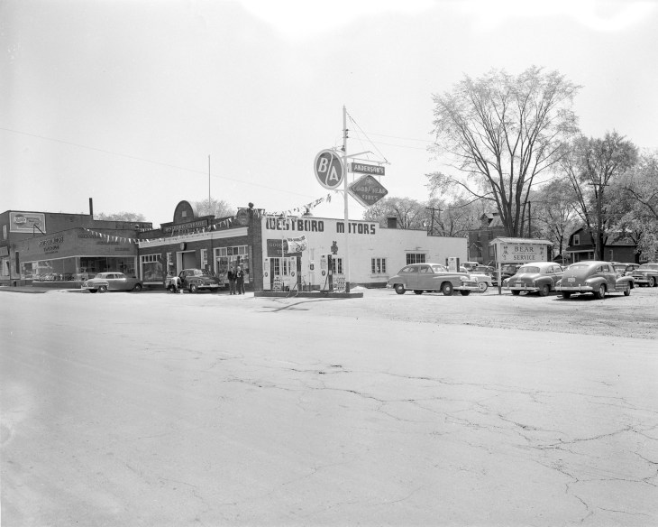 Old photo of Westboro Motors garage and addition.