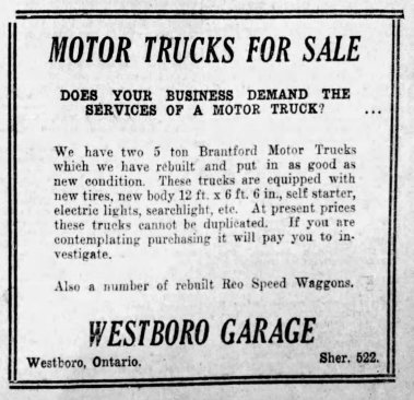 Ad for Westboro Garage as it appeared in the Saturday, July 17 1920, edition of the Ottawa Citizen.