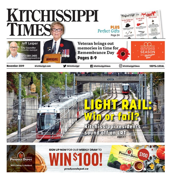 Front cover for November issue of Kitchissippi Times
