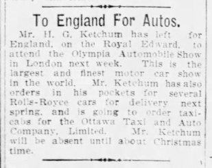 Short article related to Rolls-Royce from the Ottawa Citizen, Friday, November 3, 1911