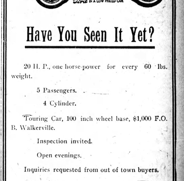 Ad for Ketchum, including a mention of the Rolls-Royce, from The Ottawa Journal, Saturday, March 27, 1909.