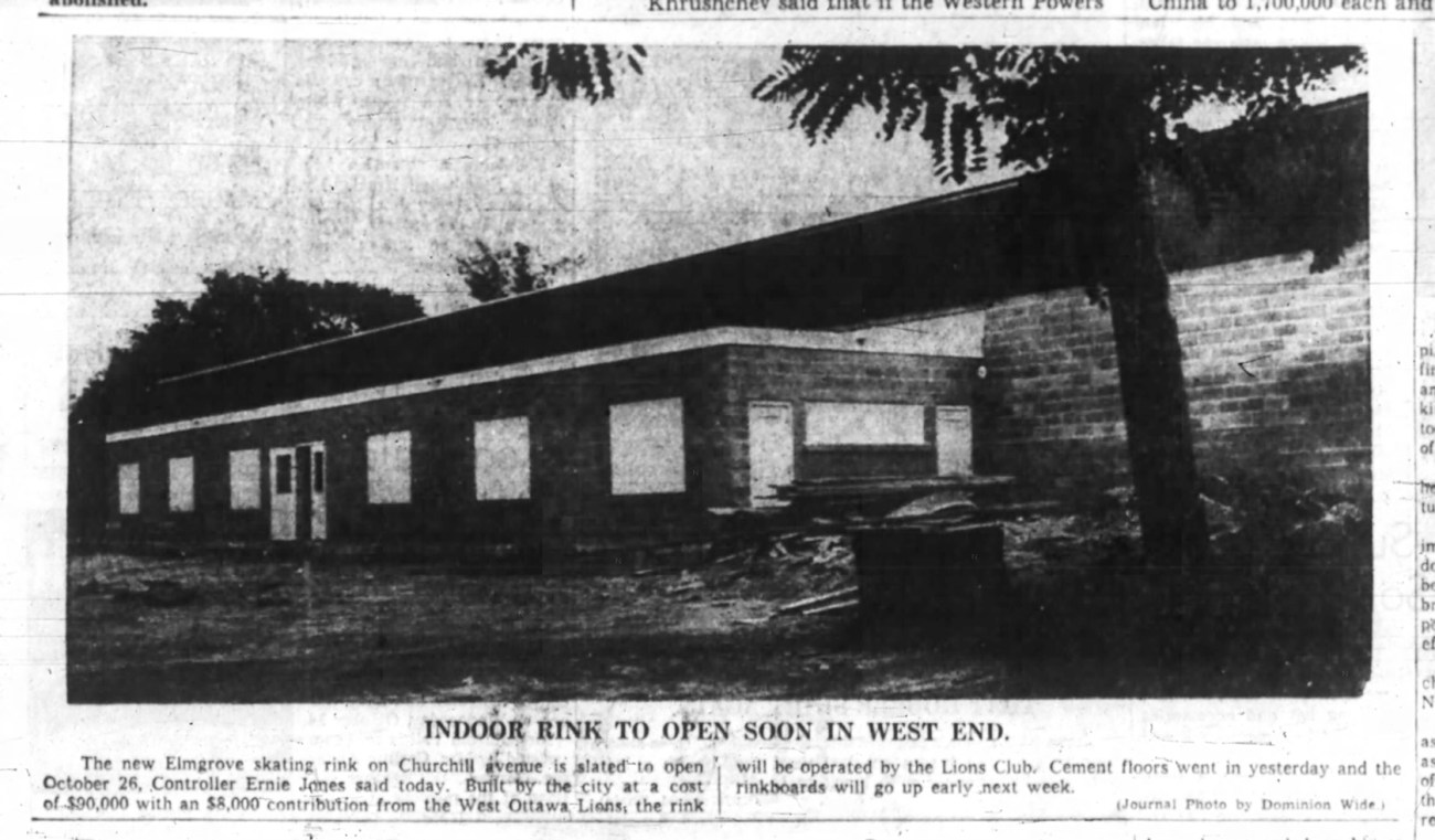 A newspaper clipping from 1959 announces the opening date for the Elmgrove skating rink.