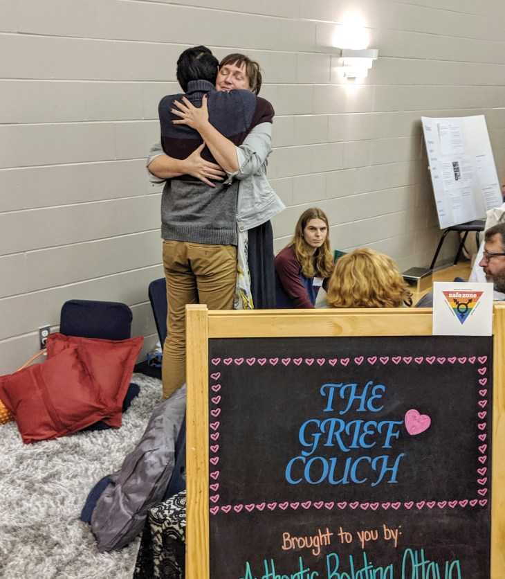 "Expo participants were able to take advantage of ""The Grief Couch."" Volunteers from Authentic Relating Ottawa acted as compassionate listeners, inviting attendees to sit and talk about what was on their mind."