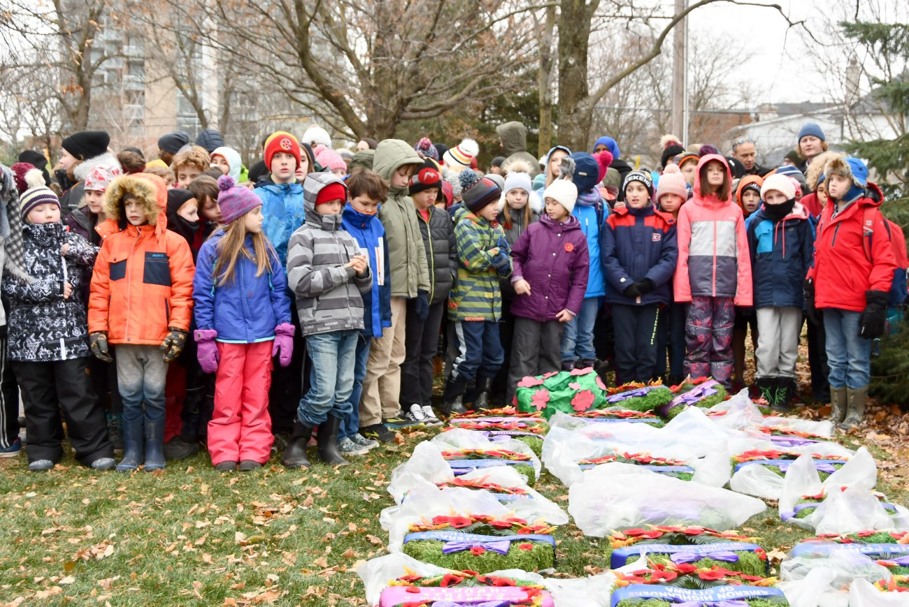 Students from the School of Rock program at Churchill Alternative School take a moment to pay their respects during this year's Remembrance Day ceremonies in Westboro. Photo courtesy Helen Flaherty, Westboro Legion