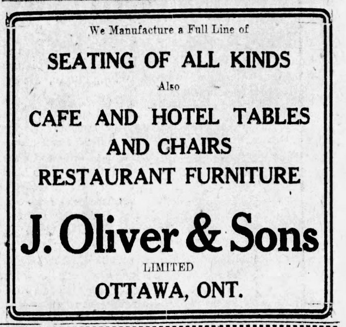 A newspaper ad from the Friday, May 15, 1925 edition of the Ottawa Citizen advertising restaurant furniture.