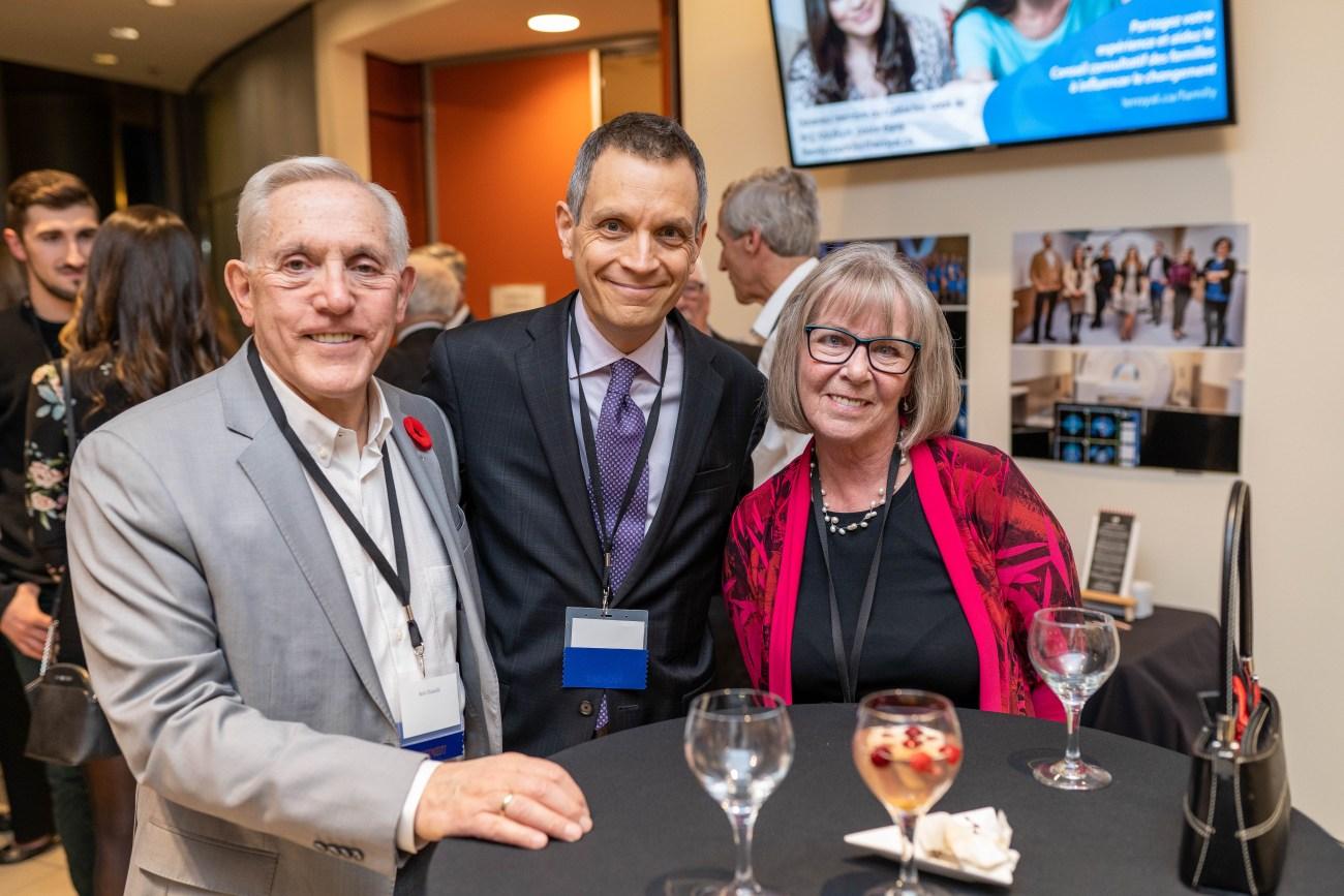 Bob Chiarelli, Mark Sutcliffe and Randi Hansen pose for a photo during the Royal Ottawa Foundation's 40th anniversary gala in November 2019.