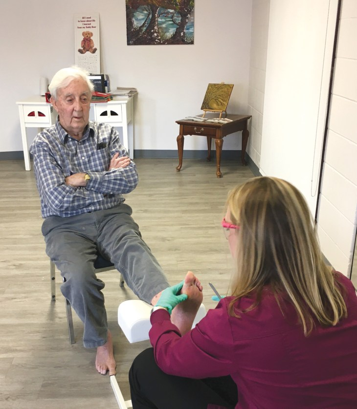 Stan Seymour, 89, gets a foot treatment from Ruth Scott at the Beautiful Feet clinic, located in the Churchill Seniors Centre. The foot clinics are currently being offered every second Wednesday.