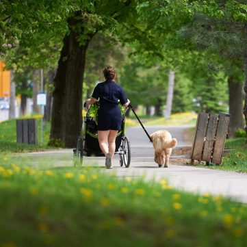 A Kitchissippi local takes a walk while physically distancing on May 23. Photo by Ellen Bond.