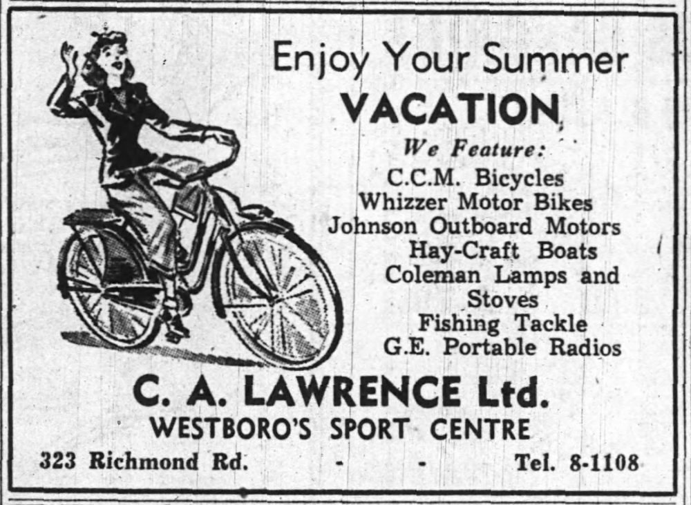 A newspaper ad for the Westboro Sports Centre that ran in 1948.