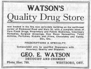 A photo of an ad for Watson's Quality Drug Store in 1927.