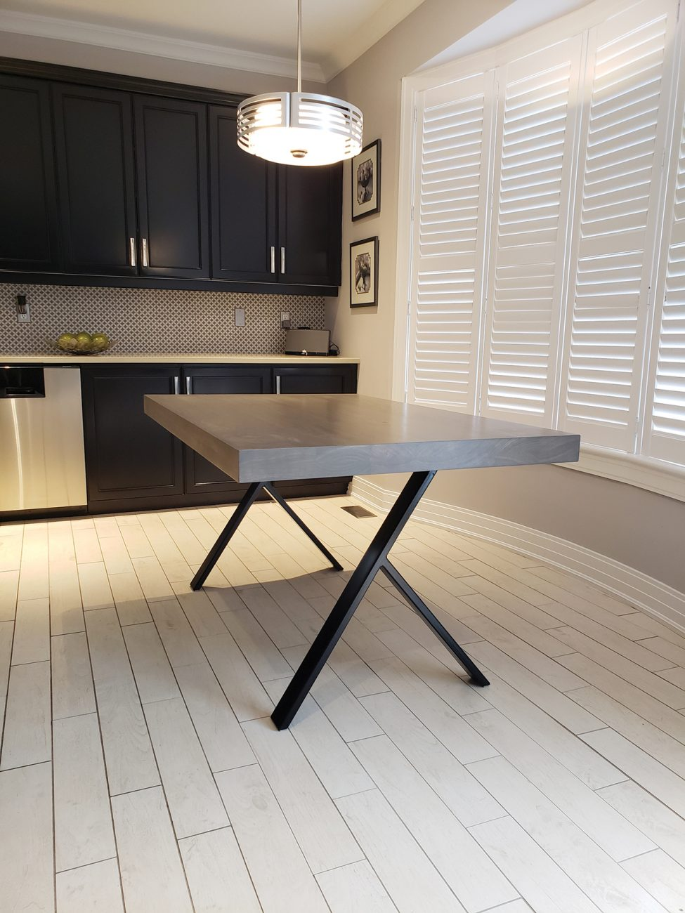 A table made by Maker House with the upside-down Y-legs.