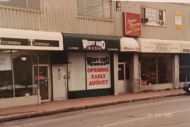 A 1995 photo of the exterior of West End Kids in Westboro just before the store opened.