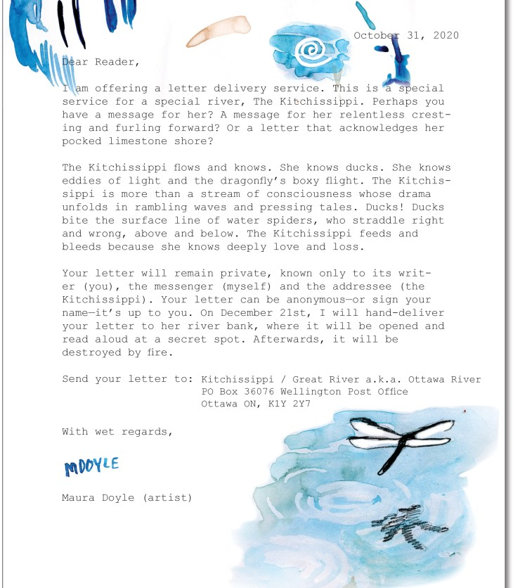 "A photo of the letter to the Kitchissippi river that artist Maura Doyle created for the 2020 City of Ottawa ""Microcosm"" project."