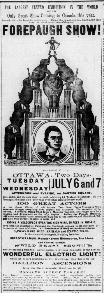 A black and white newspaper ad for Forepaugh's circus that ran in the Ottawa Citizen in 1880.