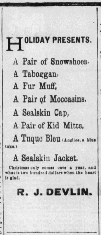 R. J. Devlin's ad for Christmas gifts that ran in the Ottawa Citizen on Dec. 24, 1880. Photo courtesy of the Ottawa Citizen.