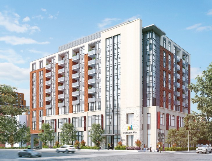 A rendering of the exterior of the Wellington West Retirement Community building in Hintonburg.