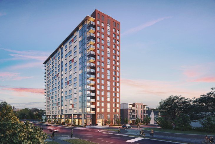 A rendering of the new building at 175 Carruthers in Hintonburg at dusk