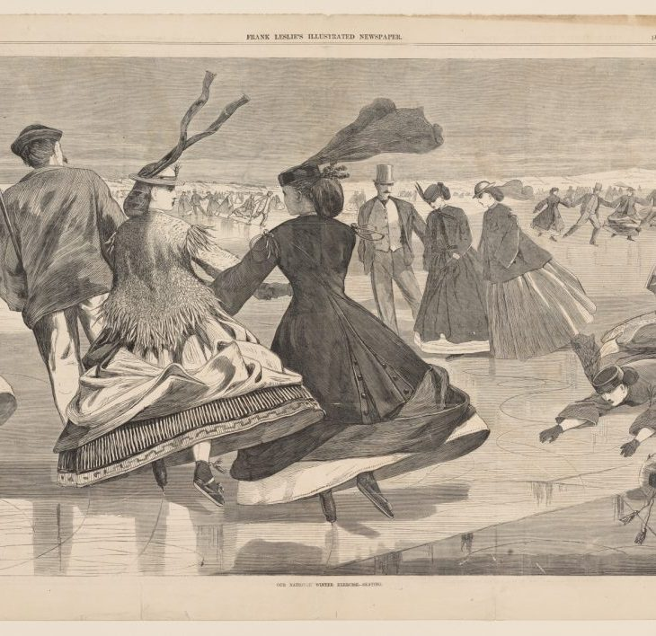 A black and white illustration of people skating in Frank Leslie's Illustrated Newspaper