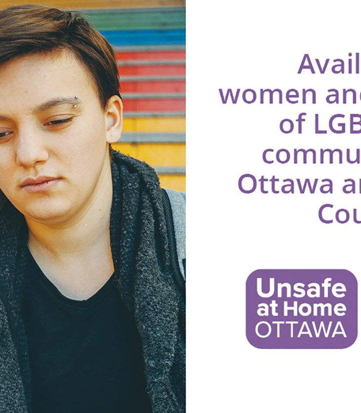 Two people lean on one another in a graphic for Unsafe At Home Ottawa