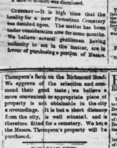 A black and white newspaper clipping discussing the debate about the placement of the Ottawa cemetery in the May 5, 1982 edition of the Ottawa Times