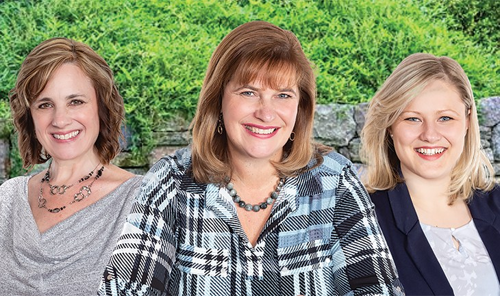 Professional headshots of three Susan Chell agents are seen against a green, leafy background
