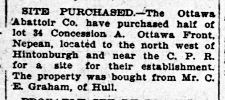 A black and white article from the Ottawa Journal in 1899 discussing the purchase of land for an abattoir.