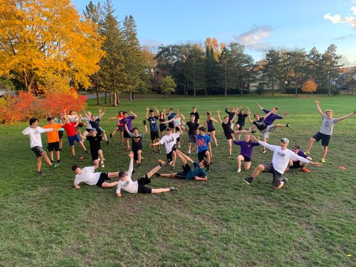 A team photo of the ultimate frisbee team at McKellar Park near Nepean High School