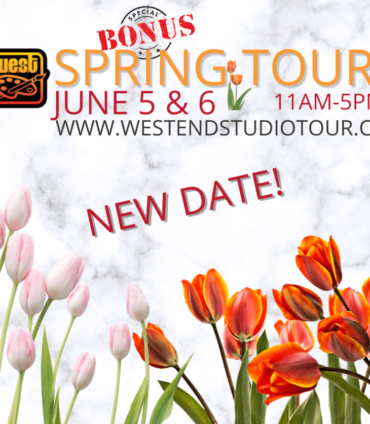 A pink, white and red graphic with tulips on it announcing the June 5-6 WEST tour in Kitchissippi.