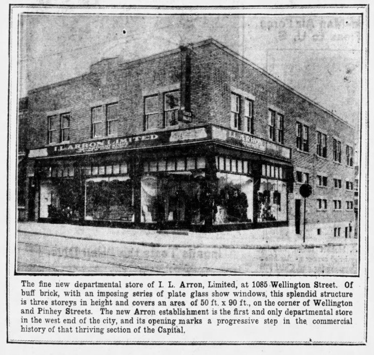 A black and white ad in the Ottawa Citizen from 1930 featuring I.L. Arron Ltd. department store.