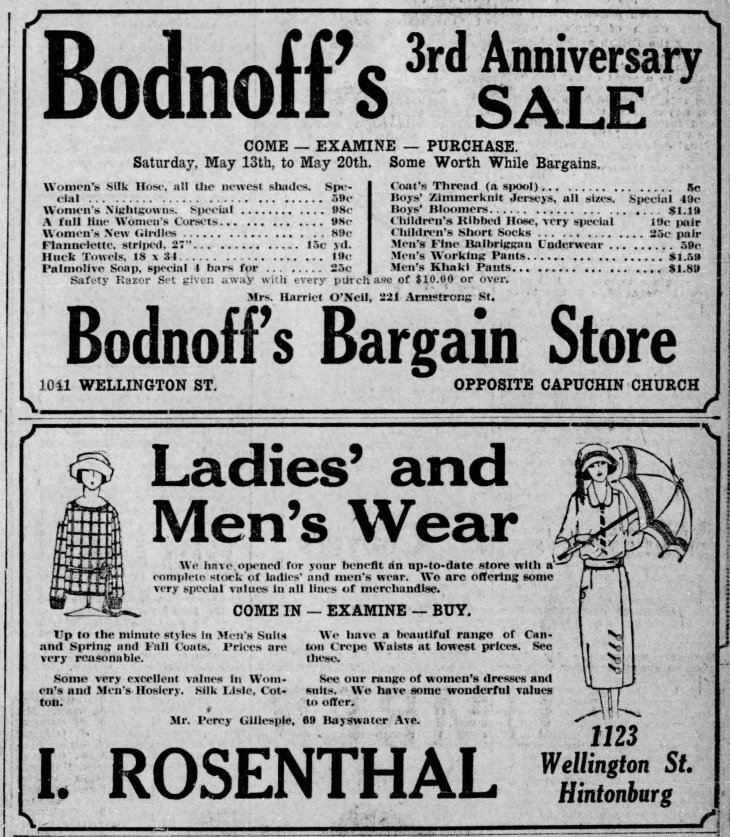 A black and white ad from 1922 in the Ottawa Citizen featuring Bodnoff's store