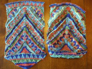 The two pieces of the bag; the one on the right has already been blocked (I thought I was done knitting. Doh!)