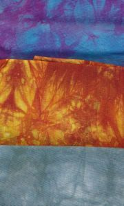 Examples of handdyed fabrics from Ann Johnston's class