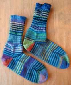 Socks made using four different self-striping yarns.