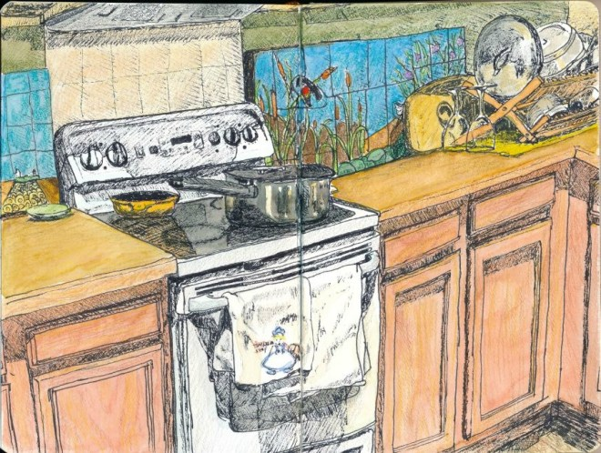 My 4-hour drawing of part of our kitchen. Full of mistakes and lessons.