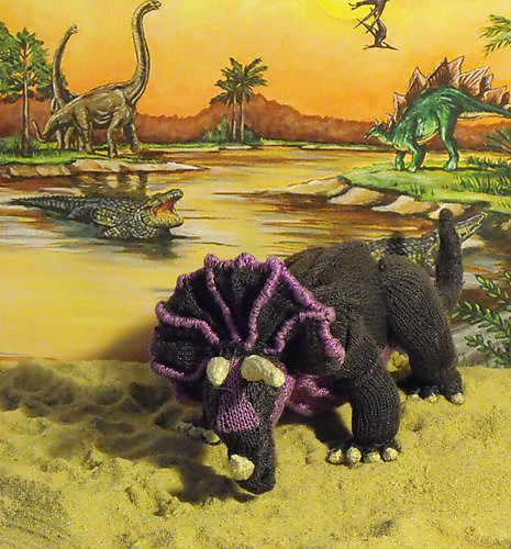 Tracy Triceratops, knit pattern by Christine Grant