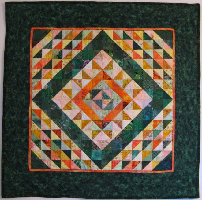 "Color Exercise #4: Green-Orange-Yellow (34"" x 34"") by Kit Dunsmore"