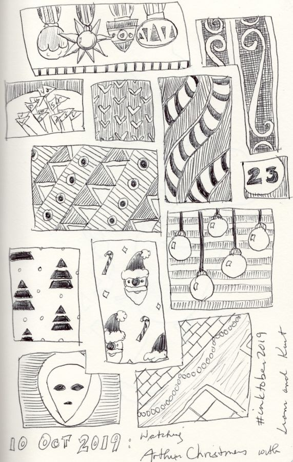 Black and white Grid of doodles. Drawing by Kit Dunsmore