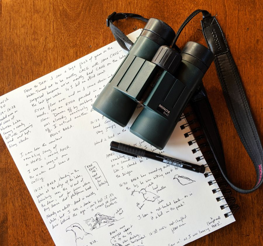 Open nature journal with binoculars and pen. Journal page and photo by Kit Dunsmore