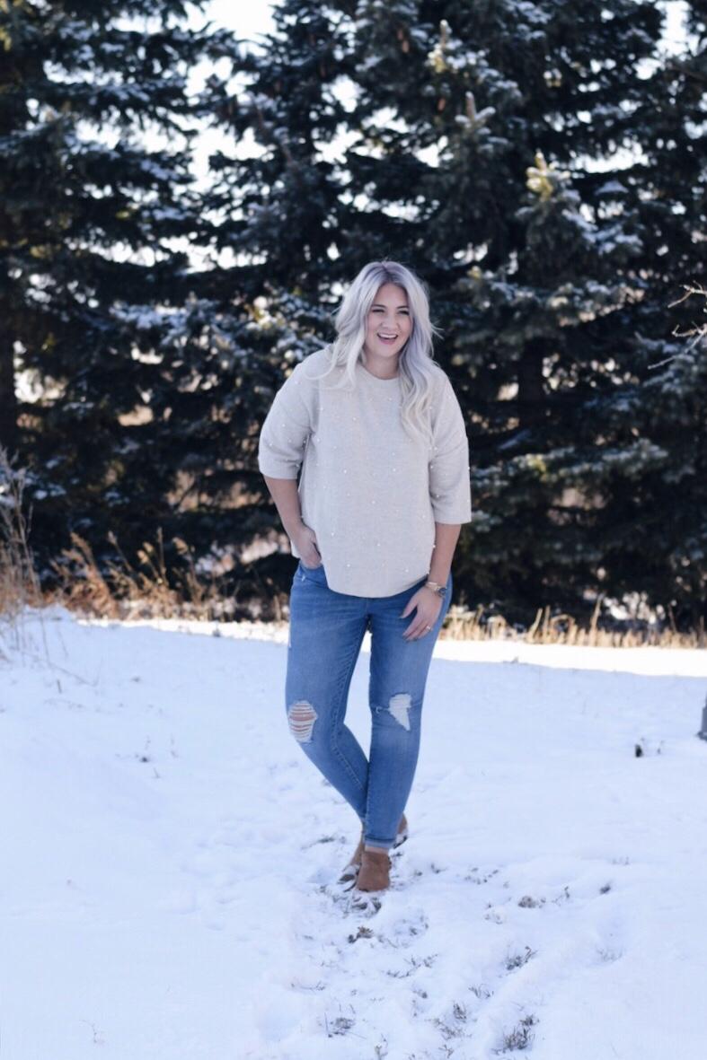 Pearl stud winter sweater
