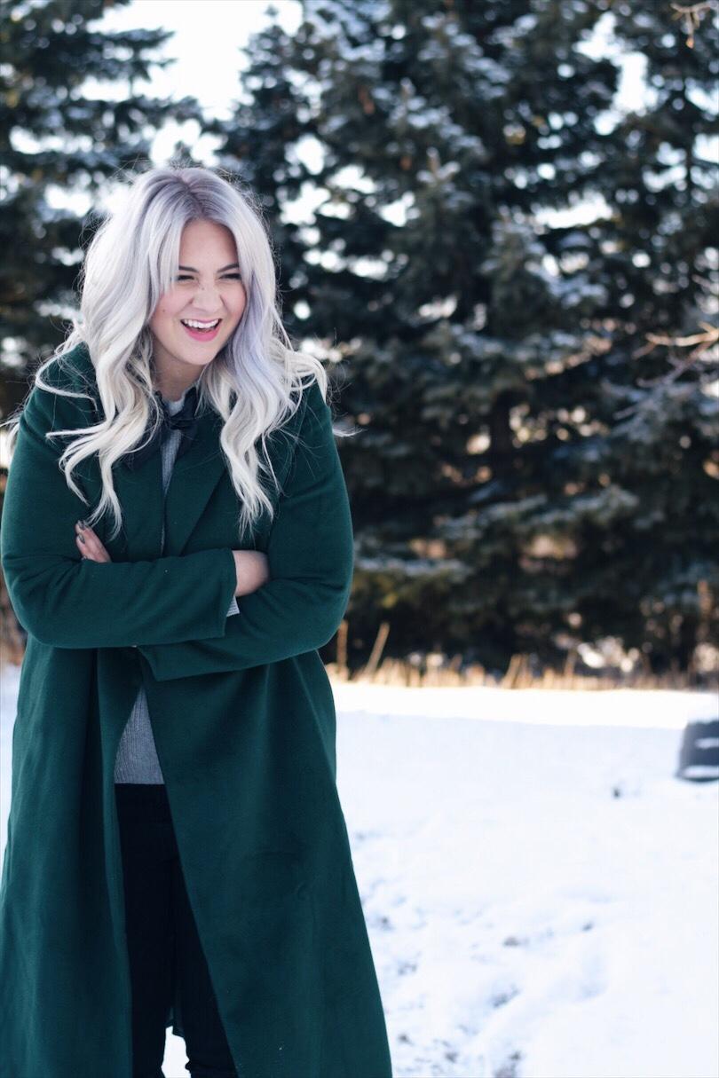 Long green winter coat