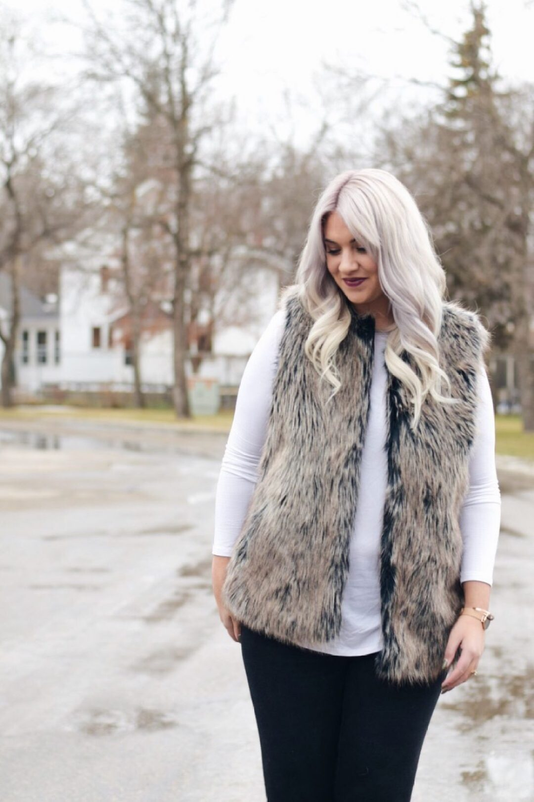 Holiday outfit - fur vest