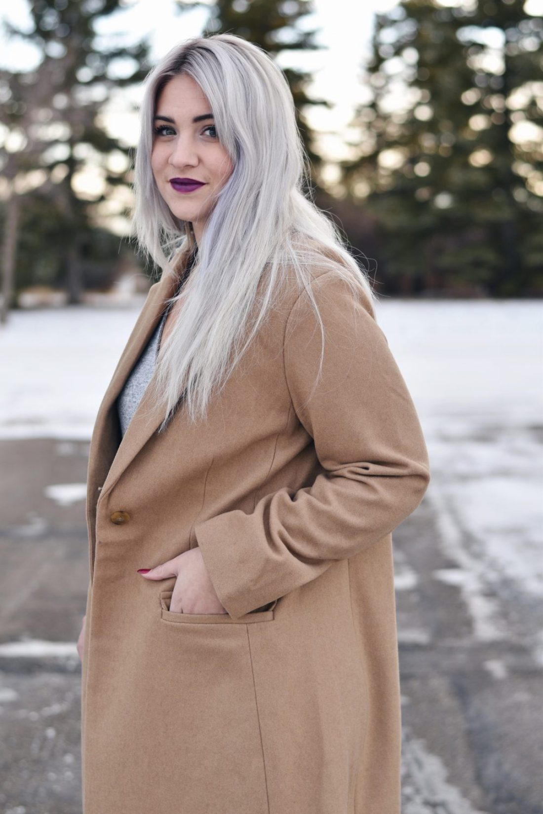 White blonde long hair