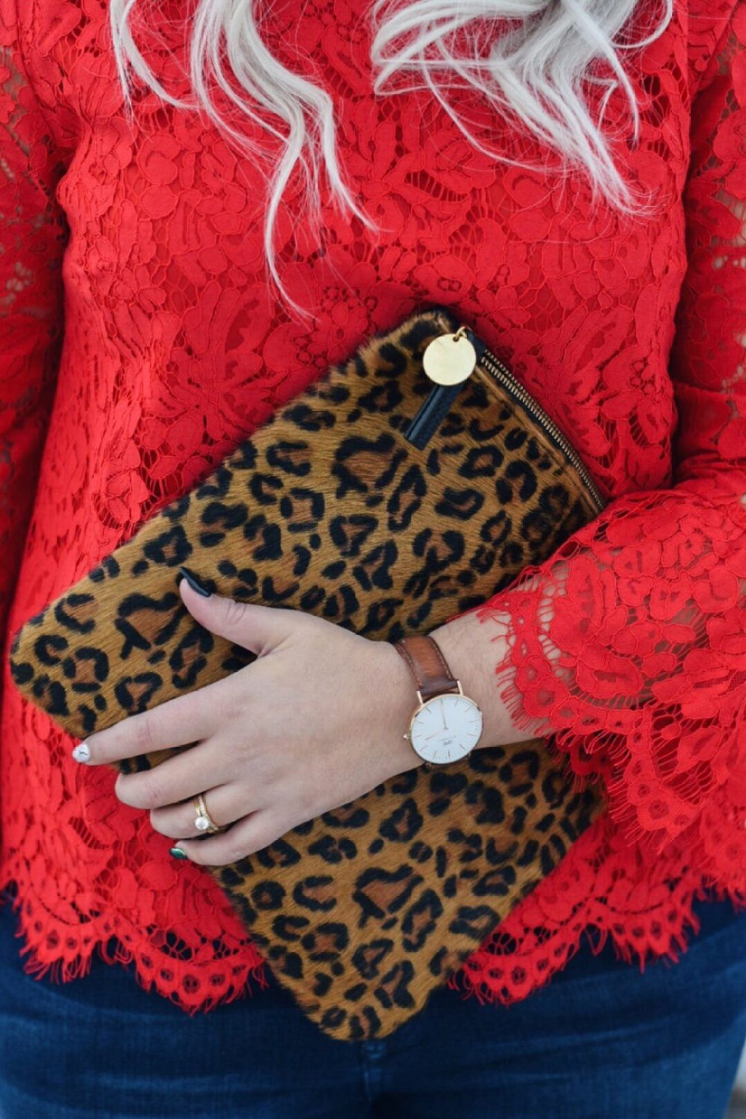 Valentine's Day OOTD red lace top & leopard clutch