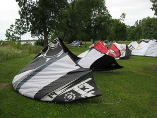 Kites in waiting at Mille Lacs