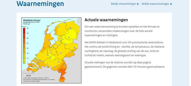 Windrichting voorspelling, windstoten, windkracht, windsnelheid op KNMI.nl
