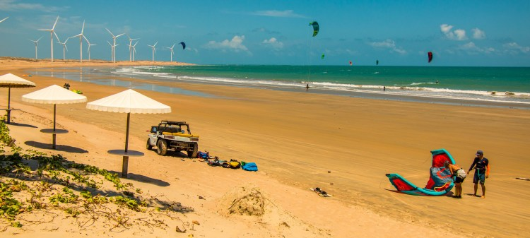 The icarai beach, kitesurfing spot, 180 km from Fortaleza