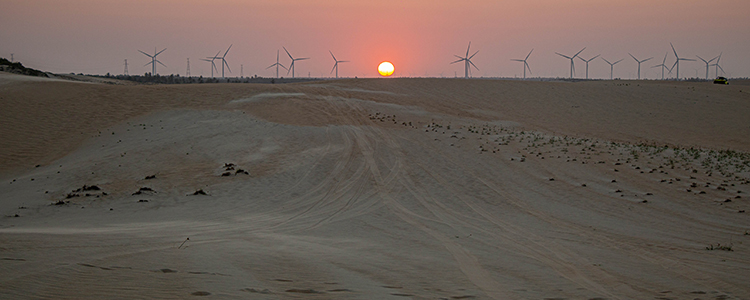 un coucher de soleil dans les dunes d'Icarai de Amontada dans le Ceara au brésil.