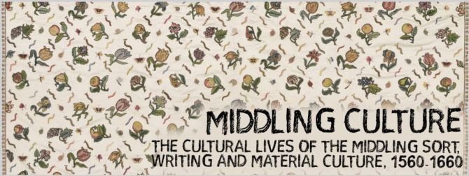 "A white background decorated with a pattern of small botanical drawings of fruits and flowers. The bottom right of the image says ""Middling Culture: The Cultural Lives of the Middling Sort, Writing and Material Culture, 1560-1660"". The picture is taken from the header image on the Middling Culture Website, curtesy of the Arts and Humanities Research Council, the University of Kent, the University of Birmingham, and King's College London. URL: https://middlingculture.com/status-calculator/"